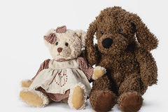 Soft plush toy bear in a dress Stock Image