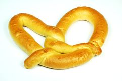 Soft Pretzel. A hot, soft pretzel royalty free stock photos