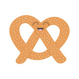 Soft pretzel icon. Sweet salted bakery Pastry. Cute cartoon smiling character with face, eyes. Fast food snack. Isolated. White ba. Ckground. Flat design. Vector Stock Photos