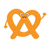 Soft pretzel icon. Sweet salted bakery pastry. Cute cartoon smiling character with face, eyes and hand. Fast food snack. New York. Symbol. Isolated. White Royalty Free Stock Image