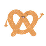 Soft pretzel icon. Sweet salted bakery pastry. Cute cartoon smiling character with face, eyes, hand. Fast food snack. . Wh. Ite background. Flat design. Vector Royalty Free Stock Image