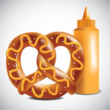 Soft Pretzel and mustard. EPS 10 vector Stock Photography