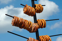 Soft Pretzels. On a vendors pole waiting to be sold Stock Images