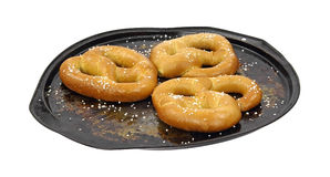 Soft pretzels on baking dish Royalty Free Stock Photography