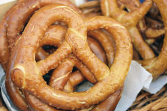Soft pretzels in basket Stock Photos