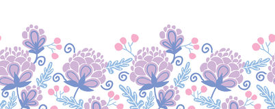 Soft purple flowers horizontal seamless pattern Stock Image