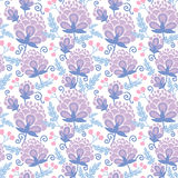 Soft purple flowers seamless pattern background Royalty Free Stock Photos