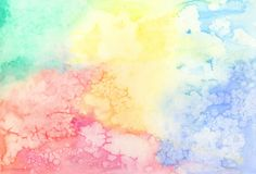 Soft Rainbow Colors Textured Watercolor Design royalty free stock photo