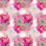 Soft red flowers on pattern. For fabric Stock Photography