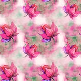 Soft red flowers on pattern. Soft red flowers on watercolor pattern Stock Image