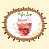 Soft refresh drink illustration. Fresh hibiscus red tea with flowers made in doodle style into round frame with text. Stock Image