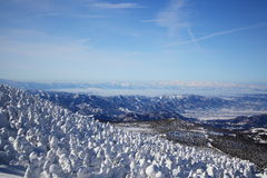 Soft rime and Mt. Iide in Japan Royalty Free Stock Photography