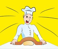 Joke with the chef. Chef is surprised with rolling-pin Royalty Free Stock Images