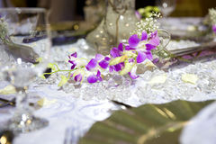 Soft romantic table setting. With flowers royalty free stock photography