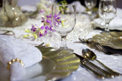 Soft romantic table setting for wedding Stock Photos