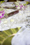 Soft romantic table setting for wedding. Soft romantic table settings for a wedding, suitable for background of a menu, invitation or wedding brochure/magazine stock image
