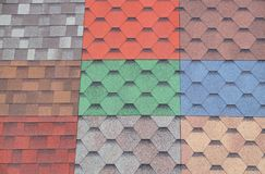 Soft roof, tiles. Different colors of shingles stock photography