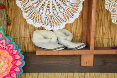 Soft room winter slippers Stock Photos