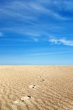 Soft sand. Footprints in the soft sand Royalty Free Stock Photography