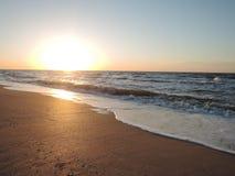 Soft Sea Ocean Waves Wash Over Golden Sand Background in summer. Soft Sea Ocean Waves Wash Over Golden Sand Background stock photo