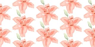 Soft seamless floral pattern. Beautiful lily flowers on white. Abstract hand drawn vector background. royalty free stock photos