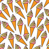 Soft serve ice cream cones retro seamless pattern Royalty Free Stock Photography