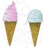 Soft serve ice. Grunge style Stock Photography