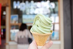 Soft served ice cream. Soft served green tea ice cream Royalty Free Stock Image