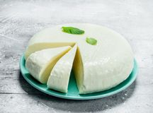 Soft sheep cheese with fresh mint leaves stock photo