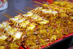 Soft shell crab kebabs Royalty Free Stock Photography