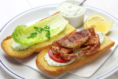 Soft shell crab po boy, cajun style submarine sandwich Stock Photos