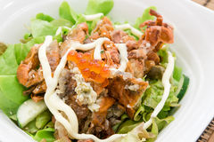 Soft shell crab salad with saolmon eggs Stock Images