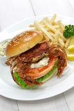 Soft shell crab sandwich Stock Images