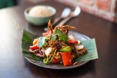 Soft shell crab. Thai food. royalty free stock photos