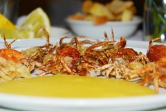Soft shell crabs and cornmeal mush, background Stock Images
