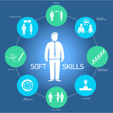 Soft skills business icons set. Soft skills icons and pictograms set black on colorfulf background vector illustration