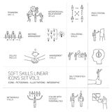 Soft skills  icons and pictograms set of human skills. Soft skills linear  icons and pictograms set of human skills in business and teamwork black on white Stock Photos