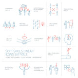 Soft skills  icons and pictograms set of human skills. Soft skills linear  icons and pictograms set of human skills in business and teamwork blue and red on Royalty Free Stock Photography