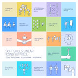 Soft skills  icons and pictograms set of human skills. Soft skills linear  icons and pictograms set of human skills in business and teamwork on colorfulf Royalty Free Stock Image