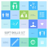 Soft skills  icons set. Soft skills  icons and pictograms set black on colorfulf background Stock Photos