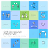Soft skills  linear icons and pictograms set Royalty Free Stock Photography