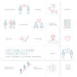 Soft skills  linear icons and pictograms set blue and red Stock Images