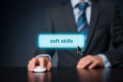 Soft skills. Manager click on button to purchase  training royalty free stock image