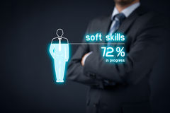 Soft skills. Training in progress. Visual metaphor - manager improve his stock photography
