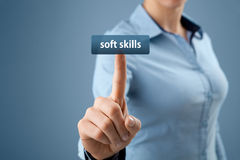 Soft skills. Woman click on button to purchase  training Stock Image