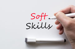 Soft skills written on whiteboard. Human hand writing soft skills on whiteboard Stock Photo