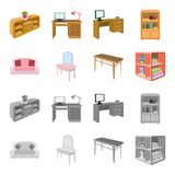 Soft sofa, toilet make-up table, dining table, shelving for laundry and detergent. Furniture and interior set collection. Icons in cartoon,monochrome style vector illustration