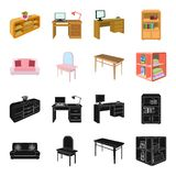 Soft sofa, toilet make-up table, dining table, shelving for laundry and detergent. Furniture and interior set collection. Icons in black,cartoon style isometric stock illustration