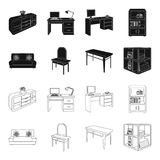 Soft sofa, toilet make-up table, dining table, shelving for laundry and detergent. Furniture and interior set collection. Icons in black,outline style isometric stock illustration