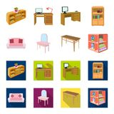 Soft sofa, toilet make-up table, dining table, shelving for laundry and detergent. Furniture and interior set collection. Icons in cartoon,flat style isometric vector illustration